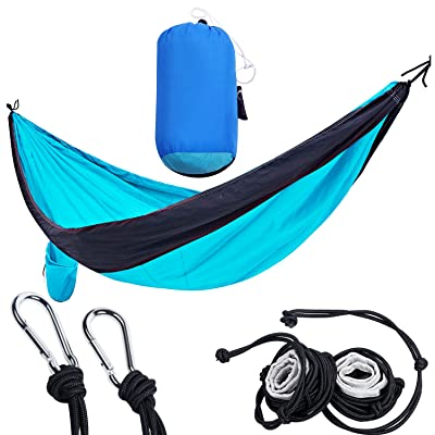 PORTAL Double Camping Hammock Lightweight Portable Nylon Hammock with Straps and Carabiners, Black/Turquoise: Sports & Outdoors