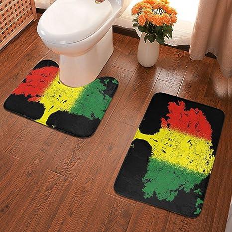 American Flag Skull Shower Curtain Bath Mat Toilet Cover Rug Bathroom Decor