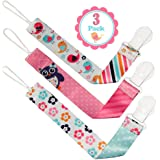 Liname Pacifier Clip for Girls - 3 Pack - Premium Quality & Modern 2-Sided Design - Pacifier Clips Fit all Pacifiers & Soothers - Perfect Baby Shower Gift