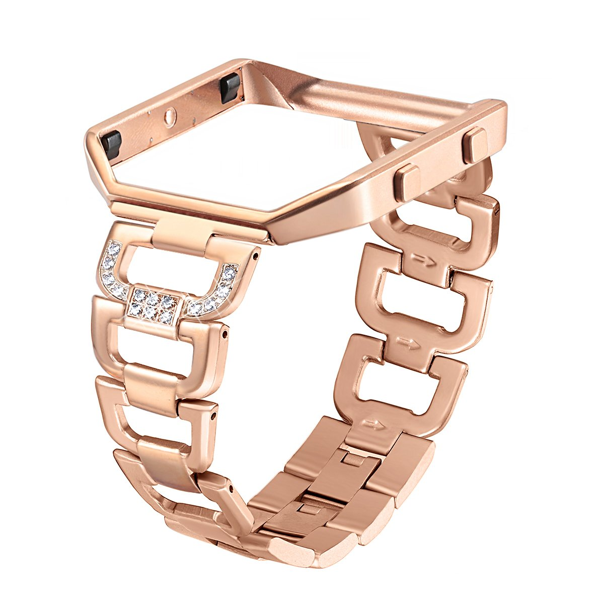 bayite Stainless Steel Bands with Frame Compatible Fitbit Blaze, Rhinestone Bling Replacement Accessory Straps Women, Rose Gold