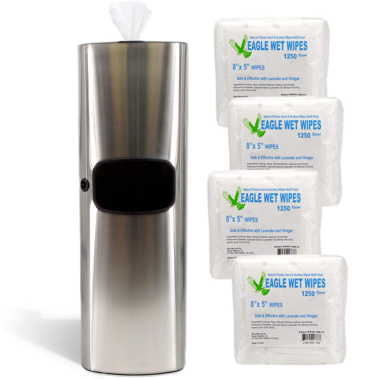TEXAS RAGTIME Eagle Wipes New Gym Wipes Dispenser and Trash Can Set for Gyms, Offices, Hospitals, Schools, Restrooms Bundle with Eagle Wet Wipes Natural Gym Wipes 4 Rolls 5000 Sheets 1250/roll