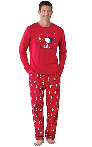 Mens Christmas Pajamas.Pajamagram Fun Men Christmas Pajamas Woodstock Snoopy Pajamas Red