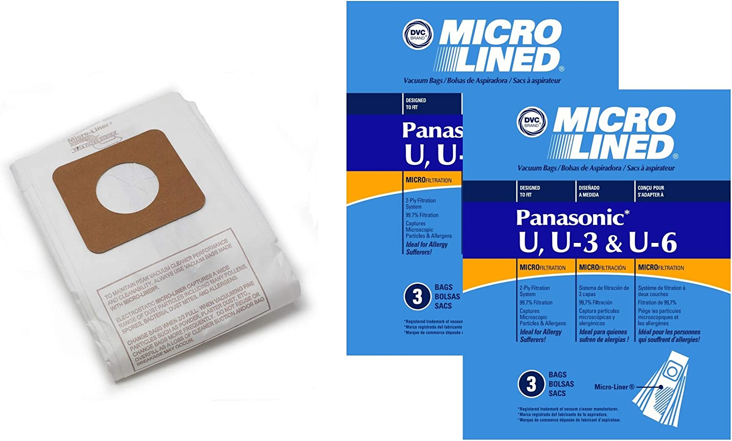 DVC Micro-Lined Paper Replacement Bags Style U, U-3, and U-6 Fit Panasonic Models MC-V5100, 5200, 5300, 5500, 6200, 6300, 6600, 6700, 6800, 6900-6 Bags