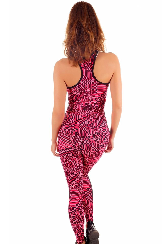 015-948 Fashion Damen Fitness Set 2 teilig Leggings und Tanktop mit Netzteileinsatz Trainingsanzug Sportdress