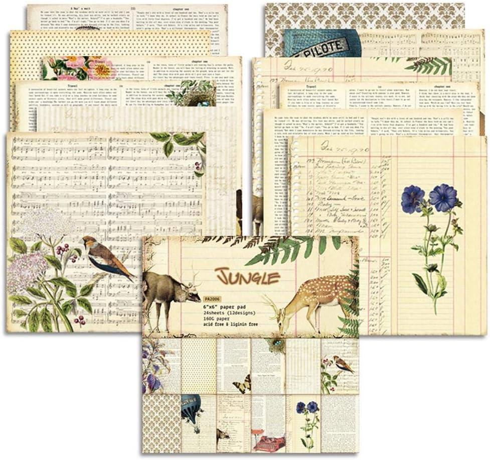 advancethy 24BLATT Vintage Design for DIY Craft Scrapbooking Paper Patterned Card Craft Paper Photo Background Decoration 6
