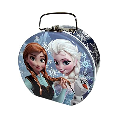 Disney Frozen Elsa, Anna & Olaf Semi-round Shaped Blue Tin Box : Toys & Games