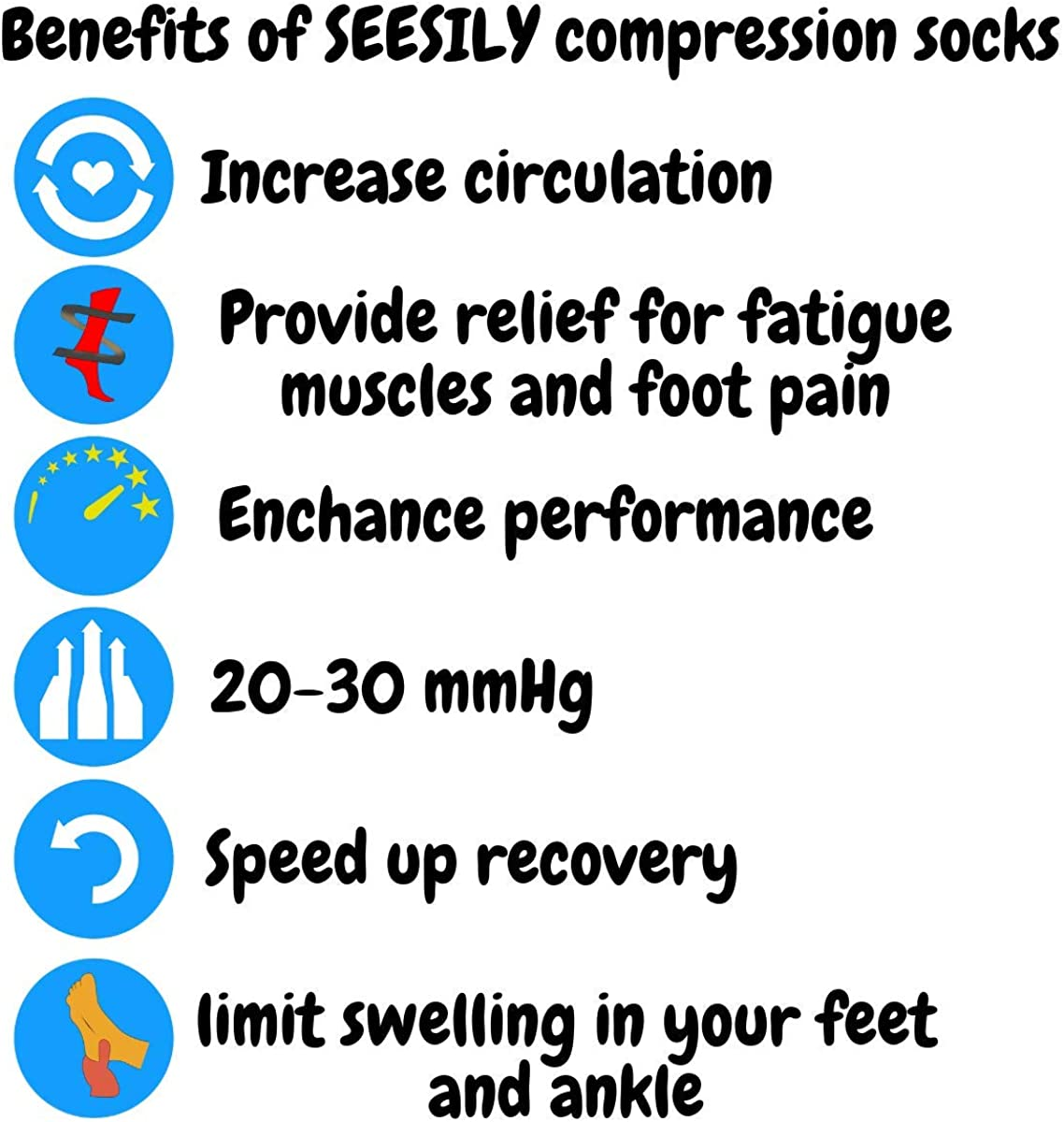 Ankle Compression Running Socks for Men/&Women-Low Cut Athletic Socks for Stamina Circulation /& Recovery 2Pairs SEESILY