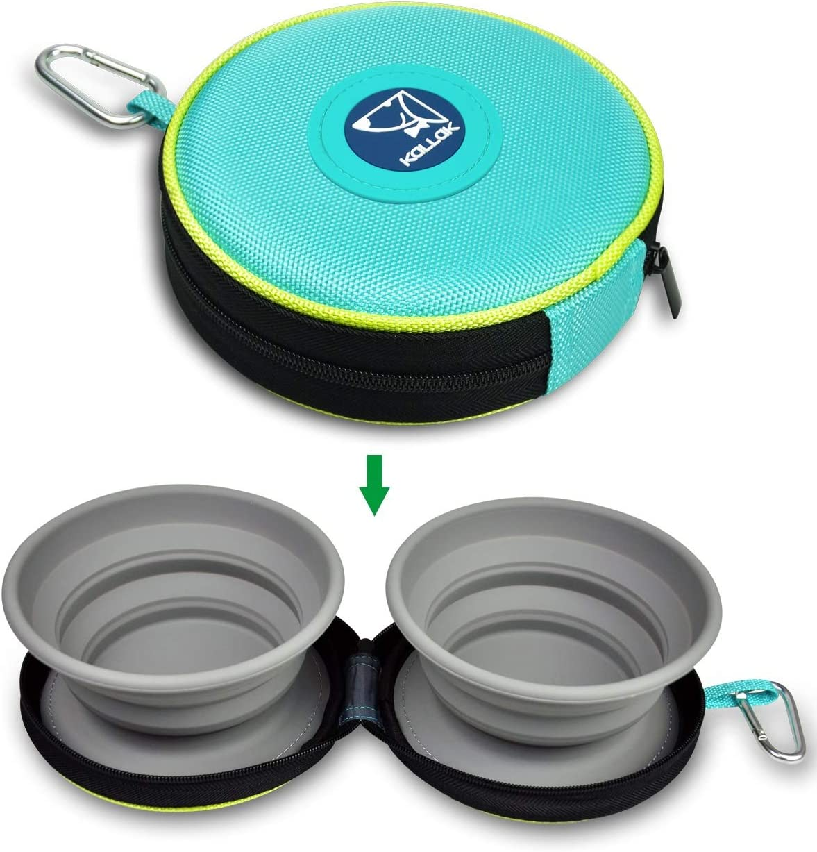 KALLAK Travel Twin Pet Bowls for Dogs or Cats, Collapsible Silicone Bowls for Food and Water Feeding, Foldable Zip Up Oxford Cloth Carry Case with Carabiner Clip, Portable Hiking Dog Bowl