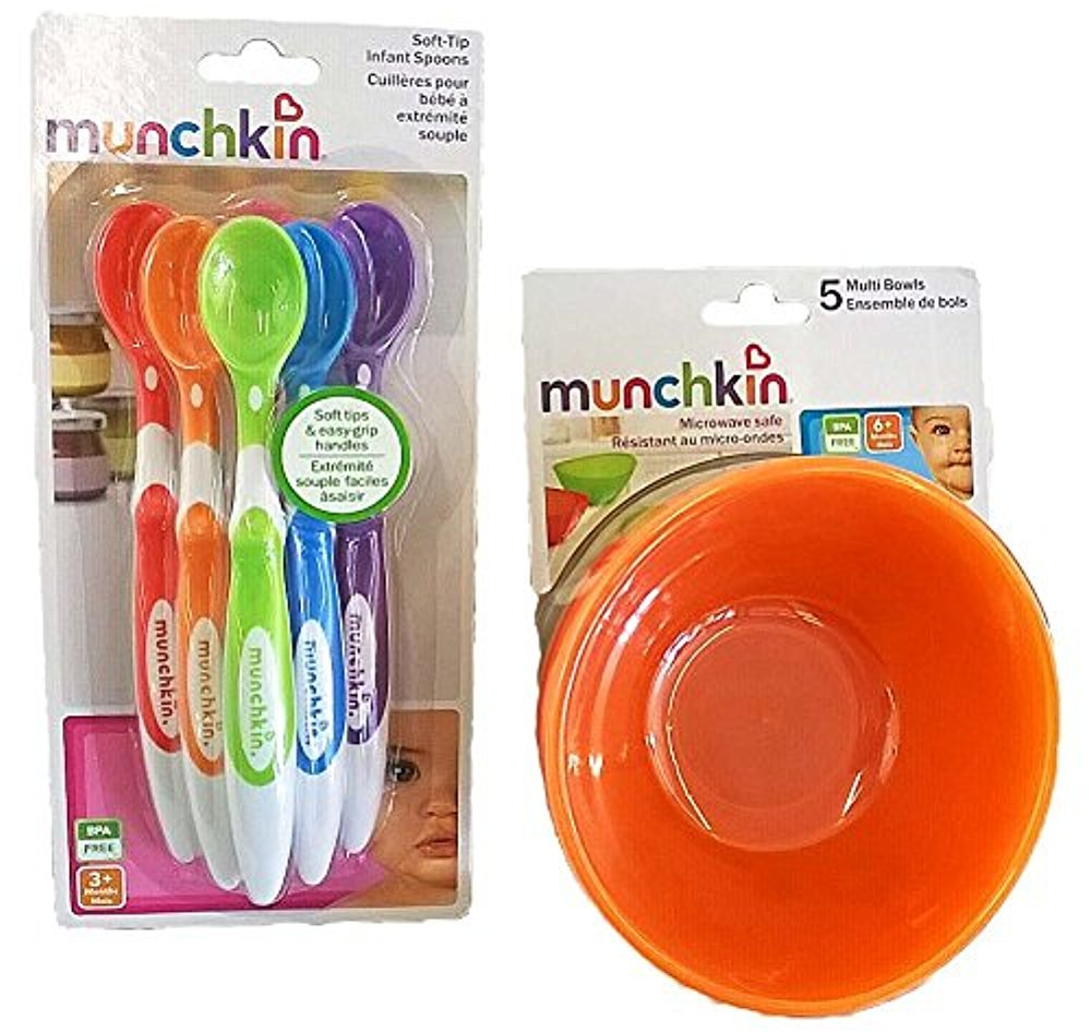 Munchkin 5 Pack Bowl and 6 Pack Spoon Set for Baby/Toddler by Munchkin