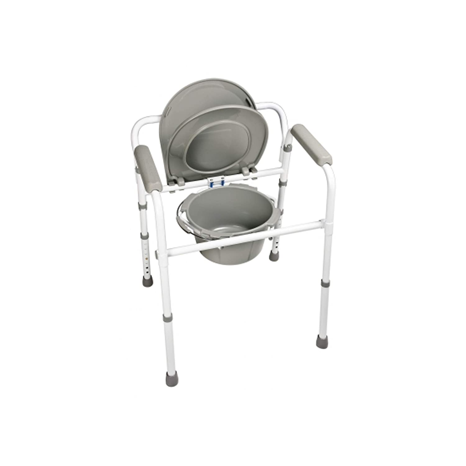 Graham-Field Lumex 3-in-1 Folding Bedside Commode, Raised Toilet Seat, or Toilet Safety Rail, 300 lb. Weight Capacity, 7108R-1