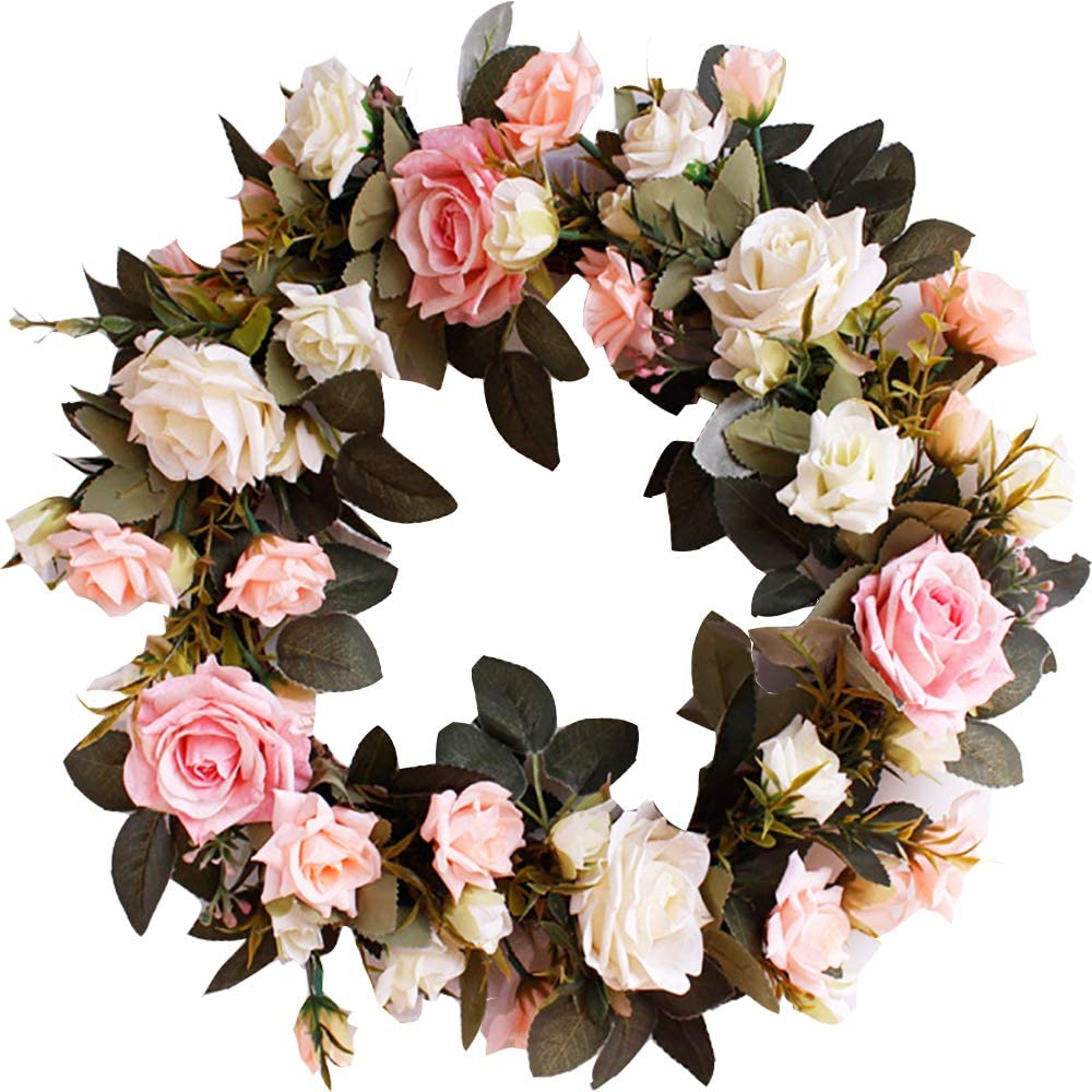 "HEBE 16"" Artificial Rose Flower Wreath for Front Door Welcome Door Wreaths Floral Farmhouse Wreath for Wedding Thanksgiving Harvest Festival Holiday Decor"
