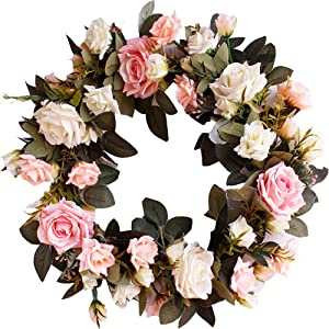 """HEBE 16"""" Artificial Rose Flower Wreath for Front Door Welcome Door Wreaths Floral Farmhouse Wreath for Wedding Thanksgiving Harvest Festival Holiday Decor"""