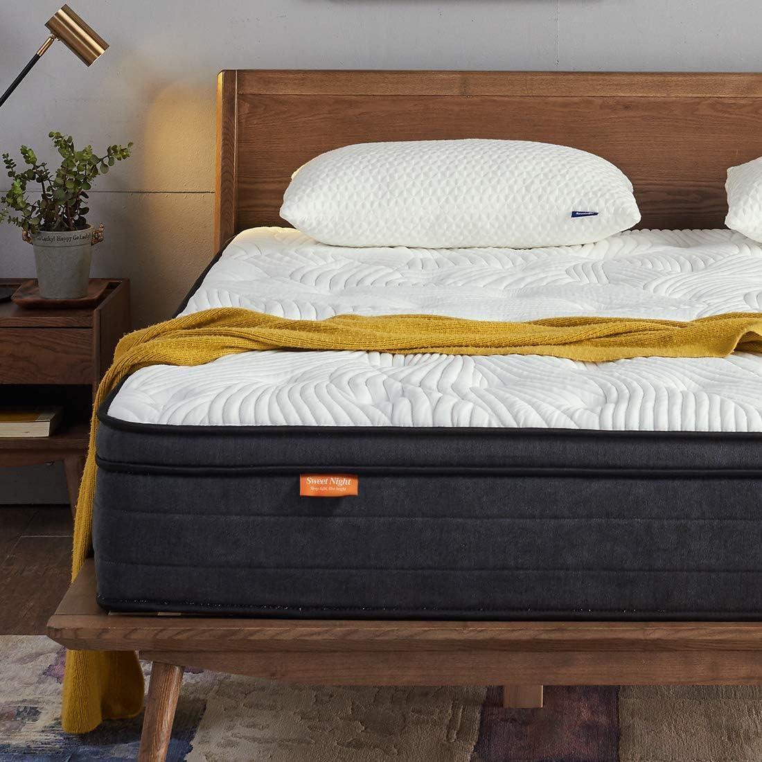 Sweetnight - Colchón de 90 x 200 cm con muelles de Espuma de Gel ortopédico y elástico, antidolor de Espalda, dureza 3, Altura 30 cm (90 x 200 x 30 cm)
