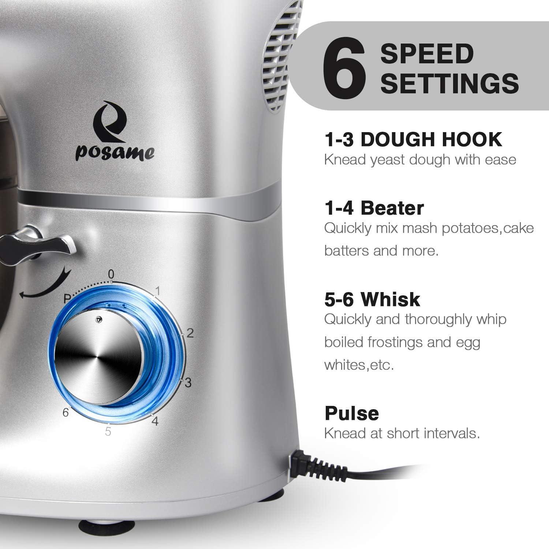 Posame - Mezclador profesional para hornear en la cocina, 660 W, 6 velocidades, tazón de acero inoxidable de 6 cuartos de galón, mezclador de masa eléctrico, máquina de amasar para pasteles con