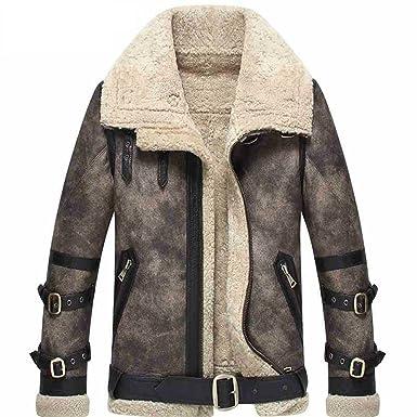 4eb8fd5aa1d Denny&Dora Men's Shearling Coat Gray Color Flight Jacket B3 B2 Genuine  Leather Jacket for Men Lambskin Fur Coat at Amazon Men's Clothing store: