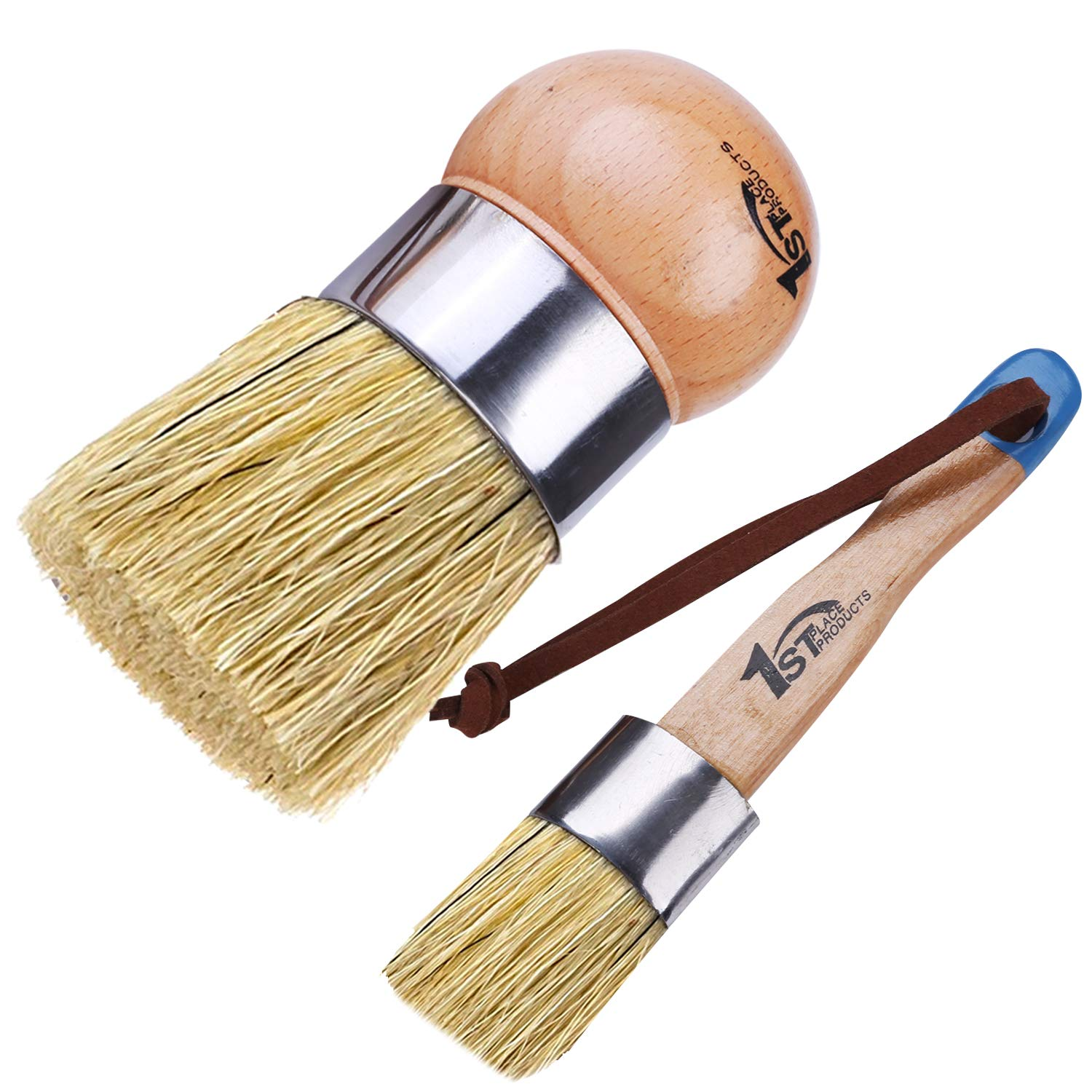 1st Place Products Large Round Palm & Flat Brush Set - Chalk Finish Paint & Wax - All Natural Bristles - Hand Made by 1st Place Products