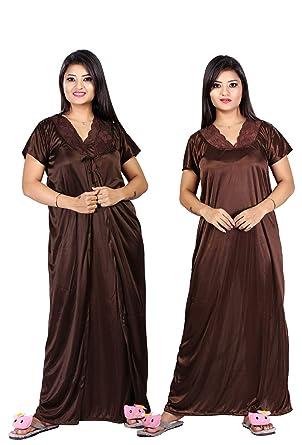 0dff1bcbec TRUNDZ Women's Satin Nighty with Robe (TNTY1754, Brown, Free Size)