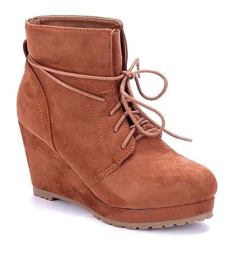 Schuhtempel24 Damen Schuhe Keilstiefeletten Stiefel Stiefeletten Boots Keilabsatz 9 cm