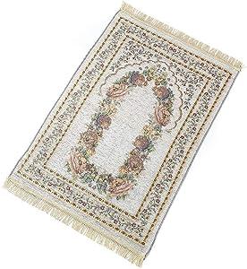 Lovt Praying Rug,Portable Folding Prayer Carpet Floral Prayer Mat Rug Anti Slip Cotton Polyester Travel Praying Rug for Church, Home,Hall, Camping