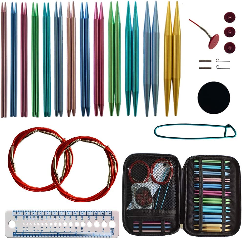 Circular Knitting Needles Set with 13 Sizes,Interchangeable Circular Knitting Needles with Storage Case for Any Crochet Patterns & Yarns Projects with 8 Cables