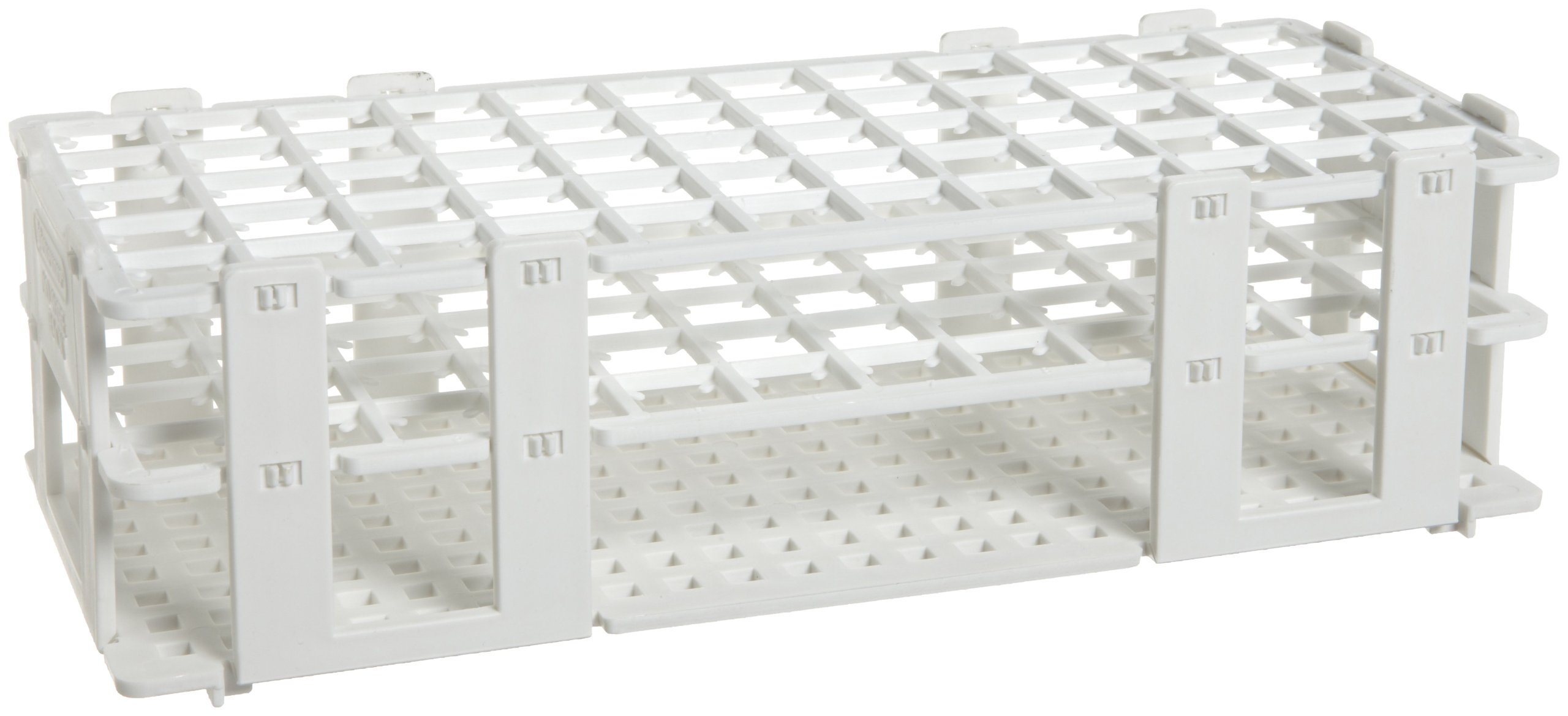 Bel-Art F18749-0001 No-Wire Test Tube Grip Rack; 15-16mm, 60 Places, 9³/₄ x 4¹/₈ x 2³/₄ in., Polypropylene