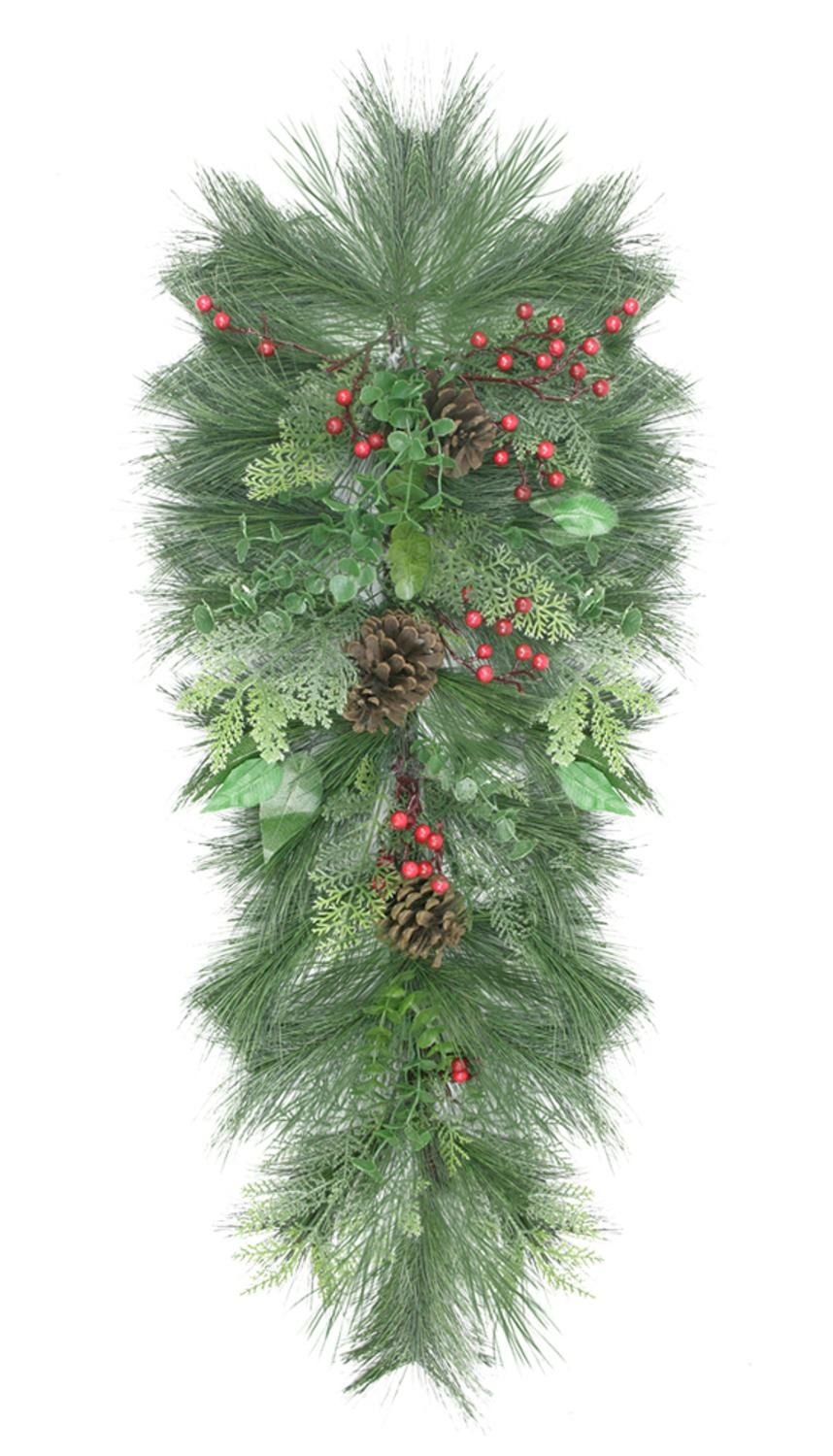 Northlight Unlit Decorated Long Needle Pine and Berry Artificial Christmas Teardrop Swag, 38'', Green