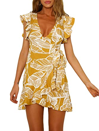 Image Unavailable. Image not available for. Color  Swmmer Liket Print Yellow  Womens Mini Dresses Summer ... 68234d7af9