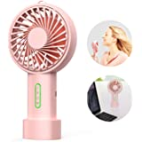IPOW Mini Handheld Fan Personal Portable Fan 3 Speed Adjustable Angle Removable Base Lanyard USB Recharging Battery Operated