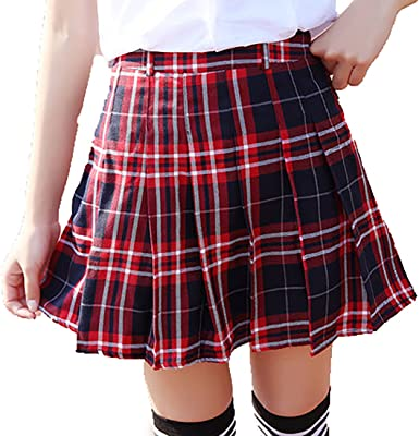 URSFUR Falda plisada de rayas y cuadro rodilla nuda para niña y ...