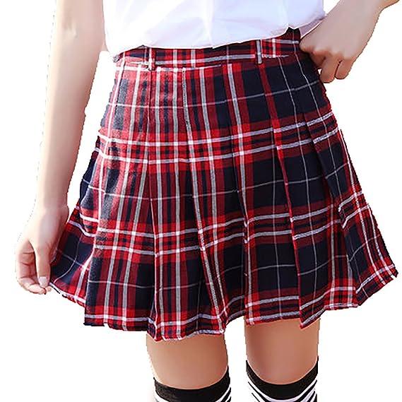 35ca1220e100a9 URSFUR Jupe Plissée à Carreau Femme Mini Jupe Patineuse Évasé Fille Taille  Haut