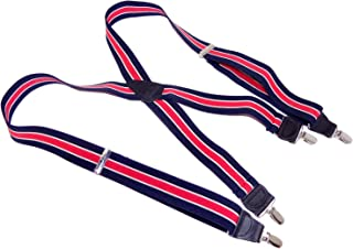 product image for HoldUp Brand Navy Blue with Red and white Stripes Suspenders in X-back style with No-slip Silver-ton [patented Clips