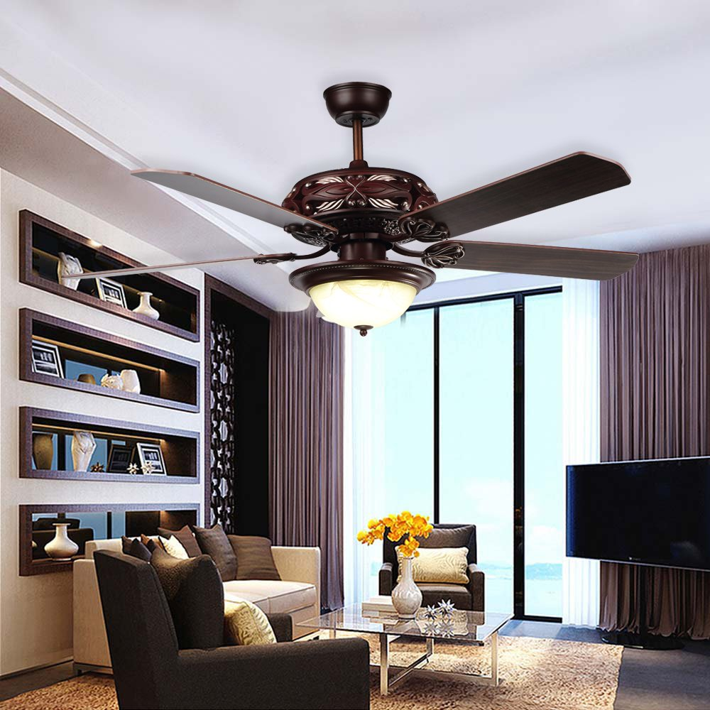 RainierLight Antique Ceiling Fan 52Inch 5 Blades LED Light Remote Control for Indoor