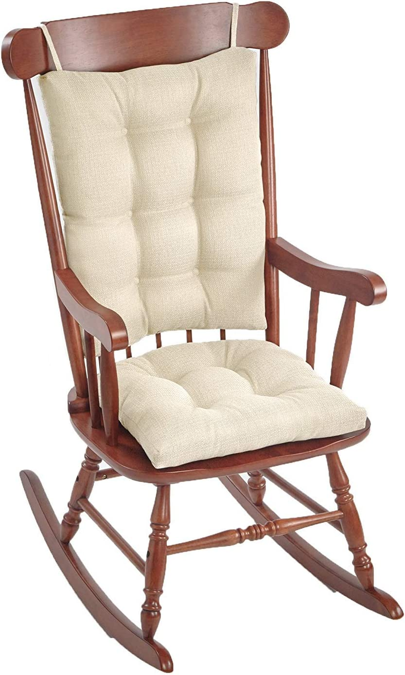 """Klear Vu Omega Non-Slip Rocking Chair Pad Set with Seat and Seatback Cushions, 17"""" x 17"""", Ivory"""