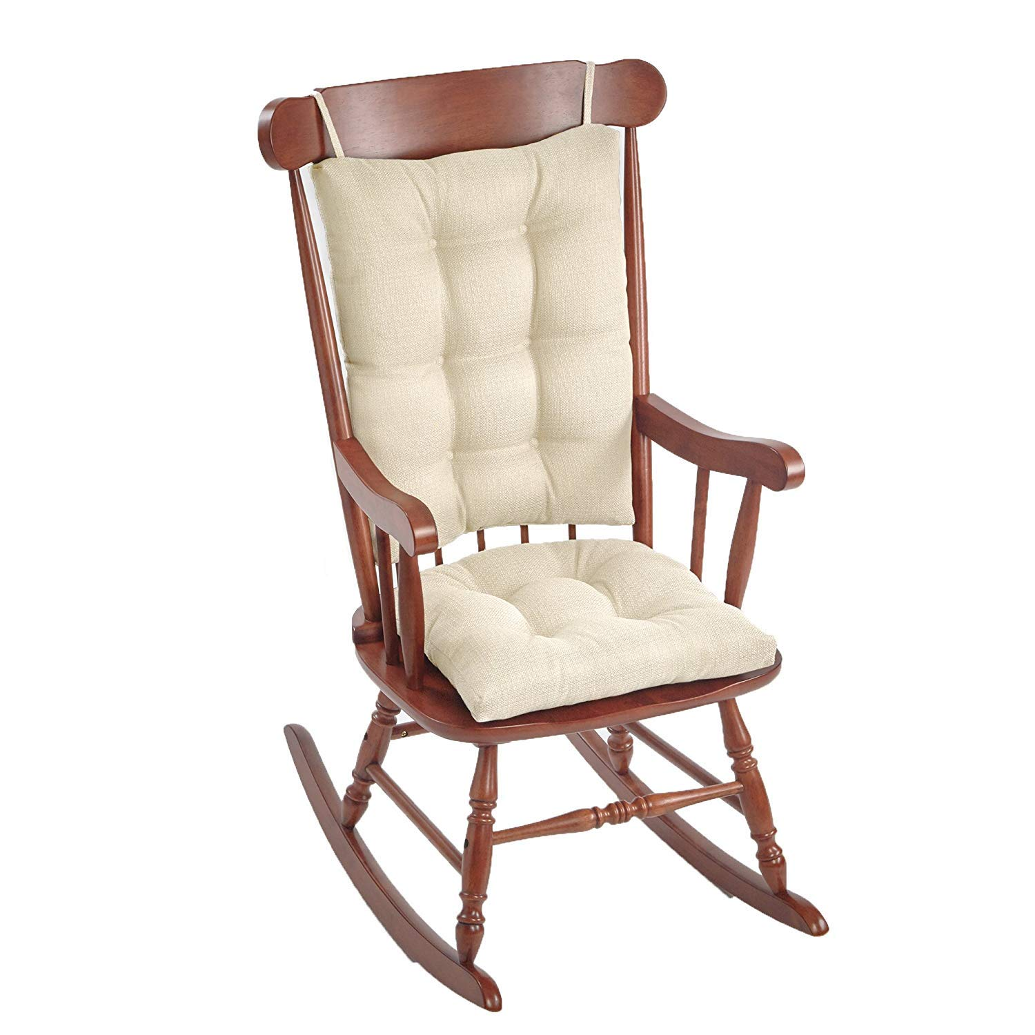 Klear Vu Omega Non-Slip Rocking Chair Pad Set with Seat and Seatback Cushions, 17'' x 17'', Ivory