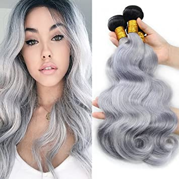 Amazon Com Ombre Silver Grey Hair Extensions Body Wave Dark Roots