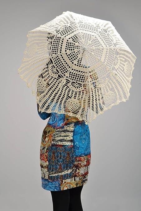 Paraguas tejida calada de estilo Vintage