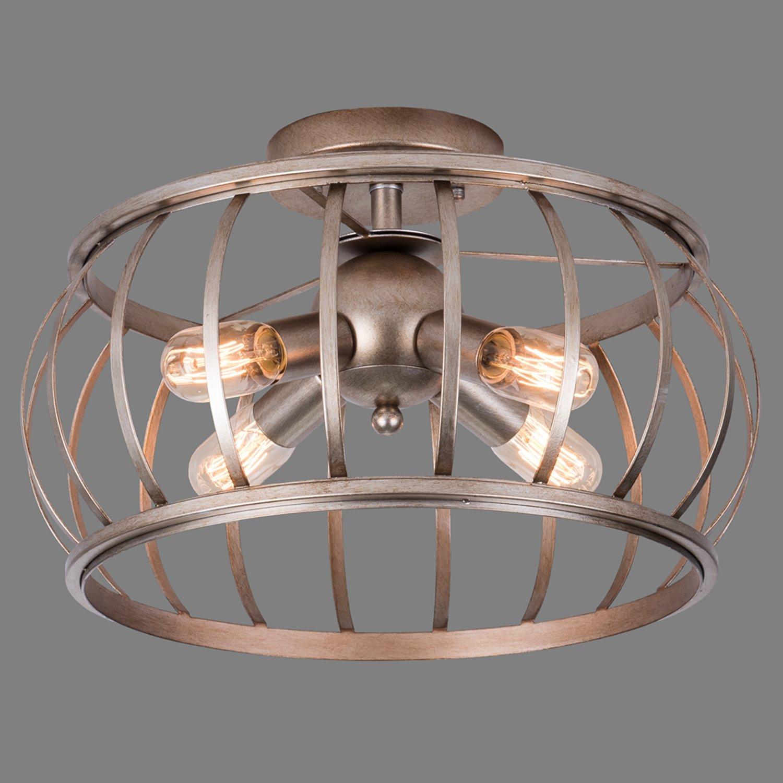 Alice house ceiling light 18 vintage industrial rustic semi flush mount lamp t45 edison bulb e26 socket lantern cage lighting fixture for barnbedroom