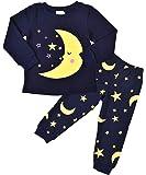 Little Pajamas Moon and Stars Cotton Sleep Clothes Cartoon Sleepwear Pjs Set for Toddler Kid 2-7 Years