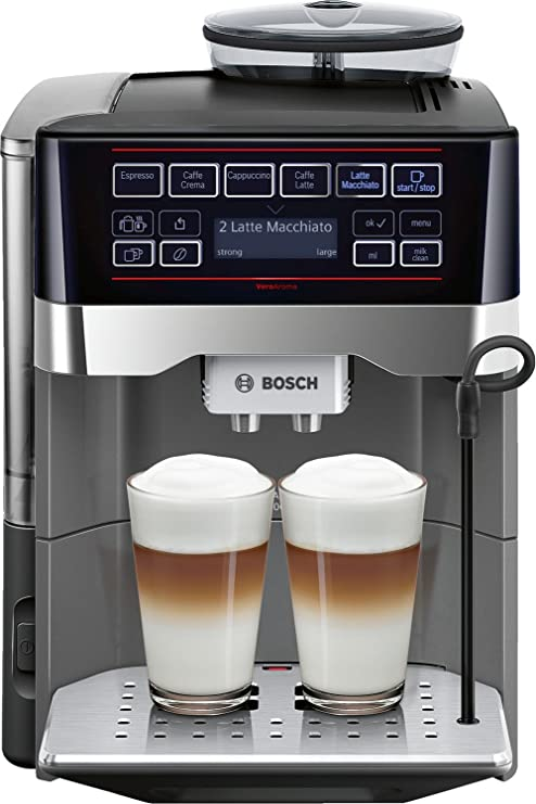 Bosch TES60523RW - Cafetera (Independiente, Máquina espresso, 1,7 L, Molinillo integrado, 1500 W, Negro, Gris)