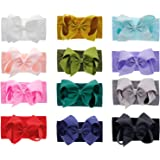 inSowni 12 Pack Super Soft Elastic Nylon Bow Turban Headbands Hairbands Headwraps for Baby Girl Toddlers Infants…