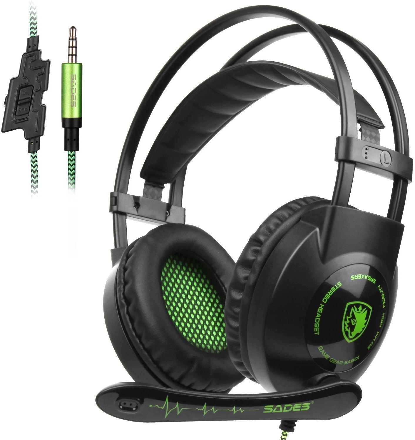 SADES SA801 3.5mm Surround Sound Stereo PC Gaming Headset Headband Gaming Headphones with Microphone Over-the-Ear Volume control Noise Isolation for New Xbox One PC Mac Tablets PS4 Laptop Phone(Green) by SADES