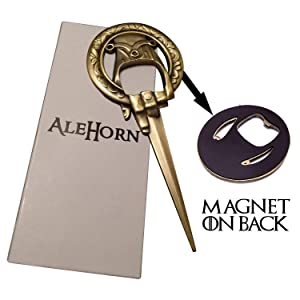 AleHorn Hand of the King Style Bottle Opener Easily Removes Bottle Caps and Opens Letters Perfect Gift for Game of Thrones Fans Hand of the Queen