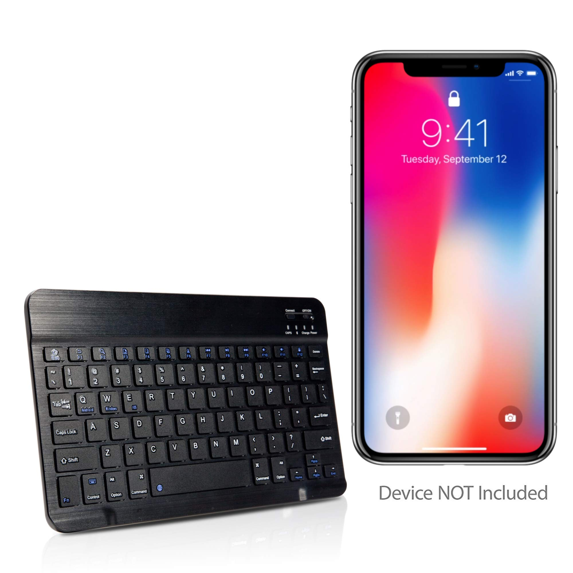BoxWave Apple iPhone XR Keyboard, [SlimKeys Bluetooth Keyboard] Portable Keyboard with Integrated Commands for Apple iPhone XR - Jet Black