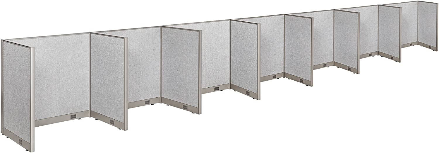 """GOF Cubicle Single 7 Station Office Partition, Large Fabric Room Divider Panel Workstation, 30""""D x 48""""W x 48""""H"""