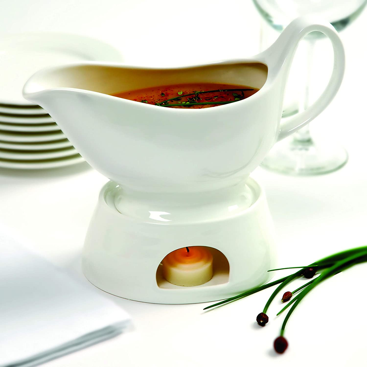 Norpro Porcelain Gravy Sauce Boat with Stand and Candle