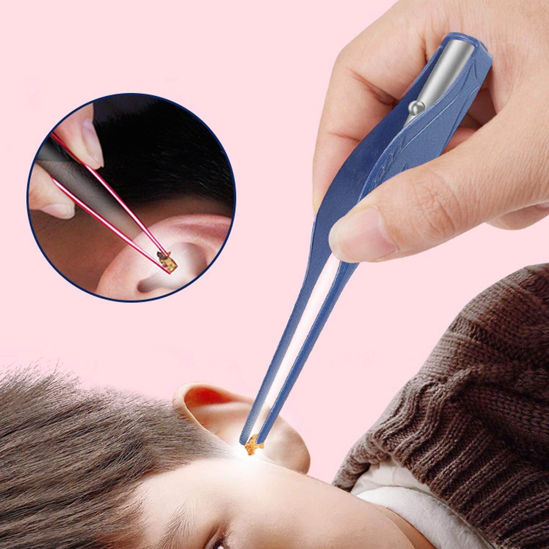 Children Kids LED Flashlight Earpick Ear Wax Remover Tweezer Spoon Cleaner Ears Care Cleaning Tools Blue