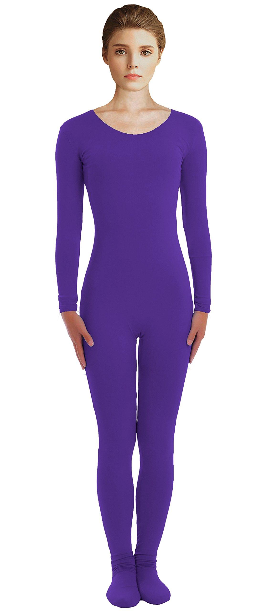 VSVO Adult Purple Scoop Neckline Unitard with Socks Catsuit Dancewear (Medium, Purple) by VSVO
