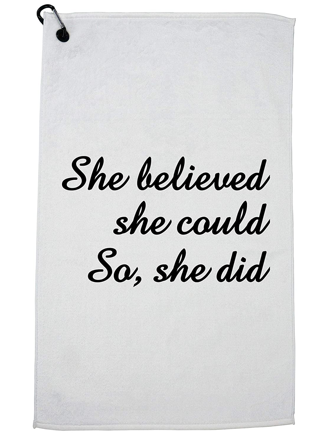 Hollywood Thread Girl Power - She Believed She Could, So She Did! カラビナクリップ付きゴルフタオル。   B07GSLN1H6