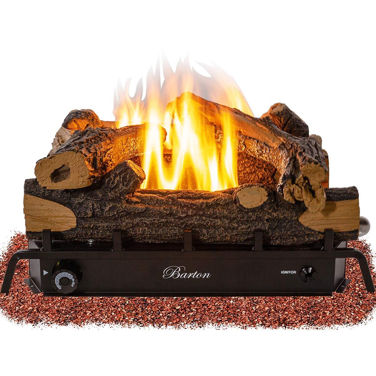 Barton Premium 18-inch Vent-Free Natural Gas Log Set 30,000 BTU Dual Burner Glowing Ember ANSI Certified Burner by Barton