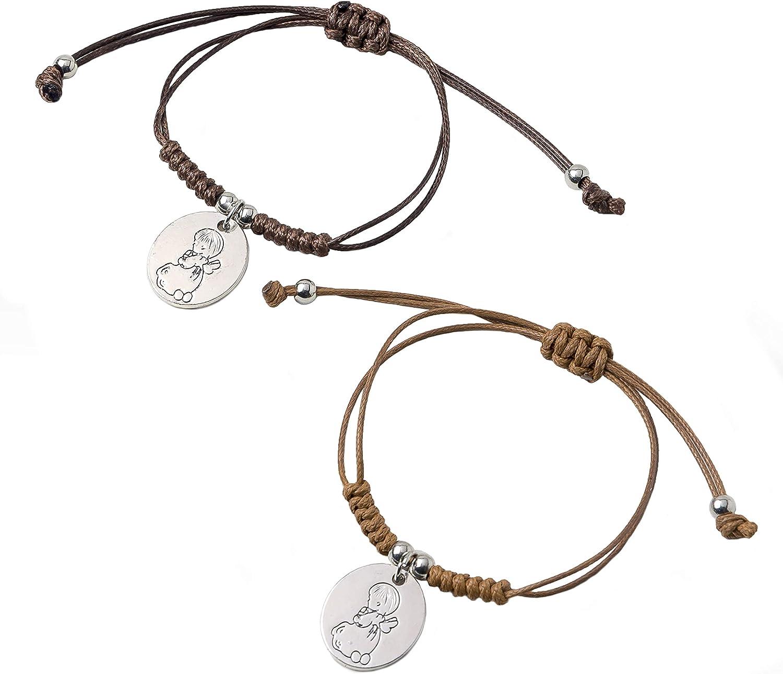 Mopec- Pulsera de Cordón Trenzado con Medalla de ángel. Detalles primera comunión. Pack 12 Unidades, Color marrón (1) , color/modelo surtido